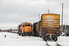 Polar Bear Express in Moosonee. GP38-2s 1804 and 1806 on freight duty at left.