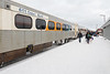 Polar Bear Express train in Moosonee. Along station platform.