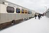 Polar Bear Express train in Moosonee. Along station platform.