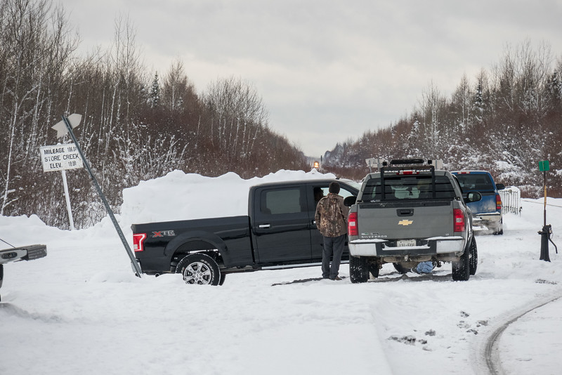 People watching for the arrival of the Polar Bear Express in Moosonee.