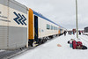Polar Bear Express along station platform in Moosonee. Coaches 851 and 857.