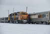 GP38-2 1808 and 1802 head to the front of the Polar Bear Express after arriving in Moosonee with a special Saturday edition 2017 December 23rd.
