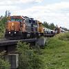GP38-2s 1806 and 1805 bring the Polar Bear Express into Moosonee. 2017 July 16th.