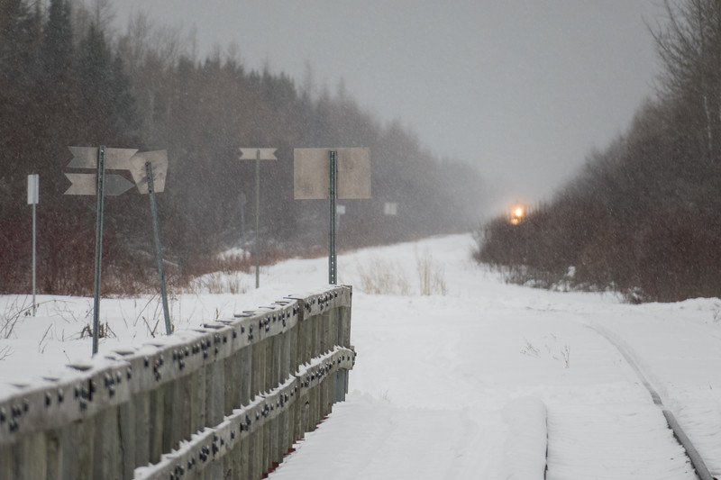 Polar Bear Express mixed train approaching Moosonee in moderate snow.