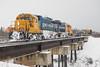 GP38-2 1801 and 1805 bring the Polar Bear Express across Store Creek in Moosonee.