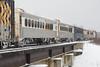 Passenger consist of the Polar Bear Express crossing Store Creek in Moosonee.