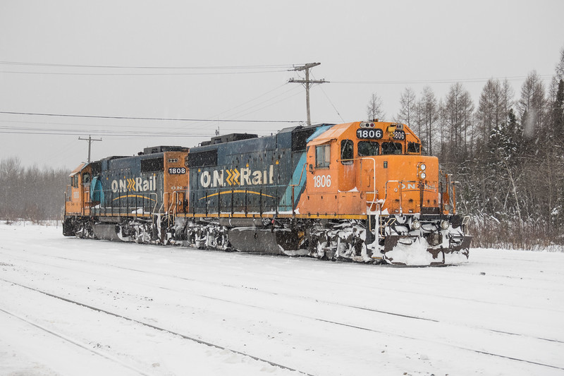GP38-2 1808 and 1806 in Moosonee after bringing up frieght 419 from Cochrane.