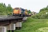 Polar Bear Express train arrives in Moosonee behind GP38-2s 1804 and 1809.