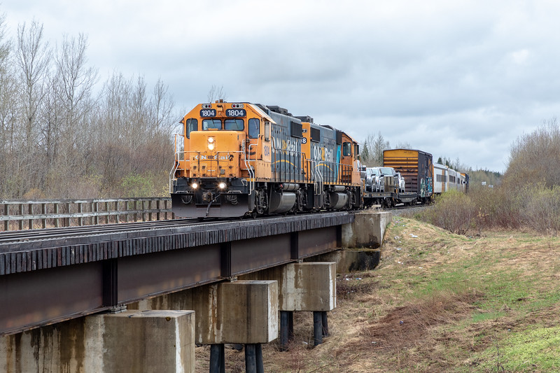 GP38-2s 1804 and 1808 bring the first Polar Bear Express since the May 30th derailment south of Moosonee. Biggest change, no snack car until 702 is ready for service.