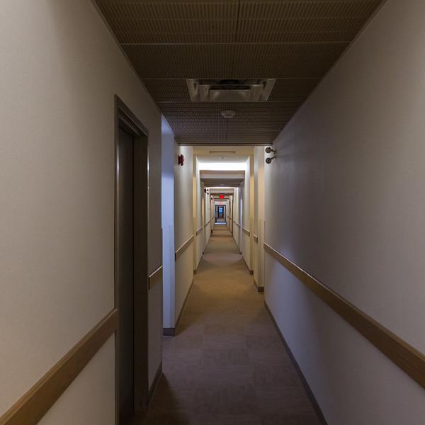 Second floor hallway at Station Inn in Cochrane.