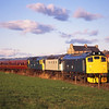 25235 + 26004 + 27001 seen leaving Bo'ness with the last train of the day for Birkhill during the Diesel gala .<br /> 24/9/1995