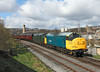 37264 + 37075 approach Keighley on the 09.40hrs Oxenhope - Keighley service<br /> 26/04/2013