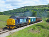 37194+50015 Seen climbing the bank on the approach to Oakworth station 		<br /> 12/06/2010