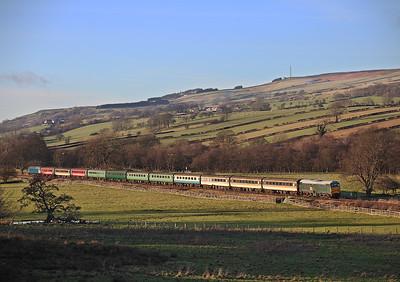 31452 is  seen working the 13.30hrs Stanhope - Wollsingham 'Polar Express' seen Nr Wolsingham . 28/12/2014