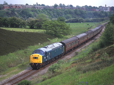 40145 passes Burrs on the ELR with a northbound train 6/6/96.
