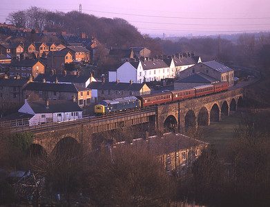 In fading light 40145 crosses Brooksbottom viaduct, Summerseat 9/3/96.