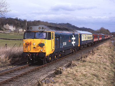 "50049 ""Defiance"" leads a Pathfinder tour from Cardiff at Preston-under-scar on the Wesleydale line 25/3/06, with 50031 on the rear."