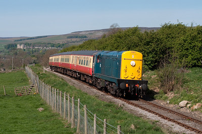 Running nose leading 20020 departs Redmire on the 11.20 to Leeming Bar 24/4/11.
