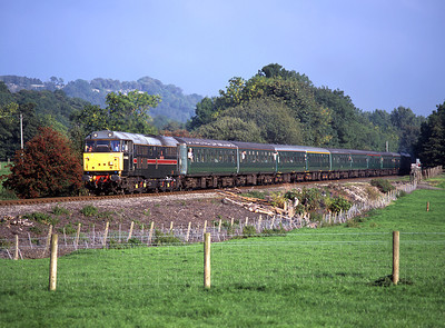 A special from Darlington-Redmire nears its destination with 31452 on the front and 31128 on the back 23/9/06.