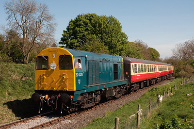 20020 departs Leyburn with the 13.00 Leeming Bar-Redmire 24/4/11.