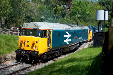 During the KWVR's excellent diesel weekend 50026 + 37075 depart the headshunt at Oxenhope 27/5/12.