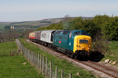 With Castle Bolton in the distance 55019 climbs away from Redmire with the 13.00 to Leeming Bar 24/4/11.