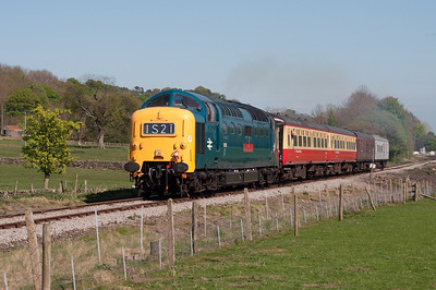 55019 heads the 14.45 from Leeming Bar near the former Wensley station 24/4/11.