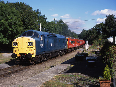 Immaculate 37003 passes the former Wensley station near Redmire 20/8/05.