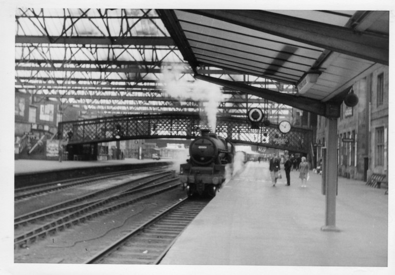 Having travelled overnight down the ECML and crossed over from Newcastle the first steam witnessed on 22/07/64 trip was Jubilee 45584 North West Frontier arriving with a local service from Scotland. This Kingmoor allocated locomotive was withdrawn 2 months later.