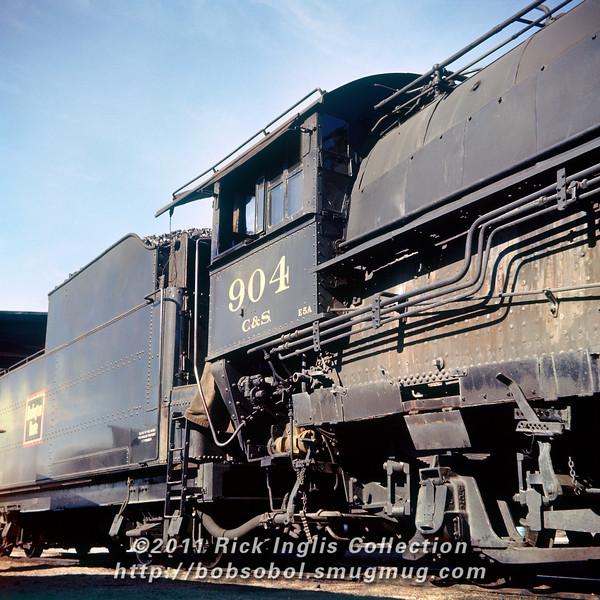 """Slide No 183. """"Feb 1957."""" C&S 2-10-2 #904 at Fort Collins."""