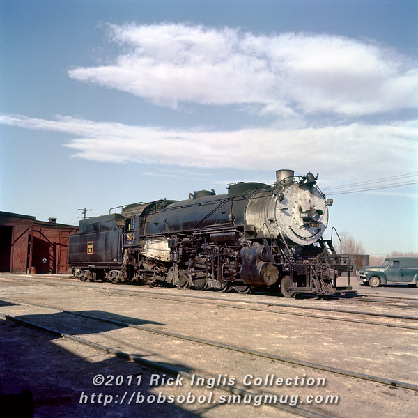 Slide No. 738. C&S 804 outside Fort Collins enginehouse.