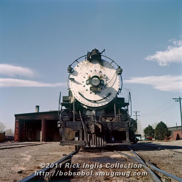 Slide No. 737. C&S 2-8-2 #804 outside the Fort Collins engine house, December 1957.