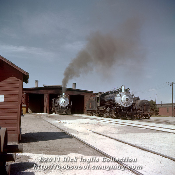 Slide No. 356. C&S 647 and 644 outside the Fort Collins engine house, about October 1, 1958.