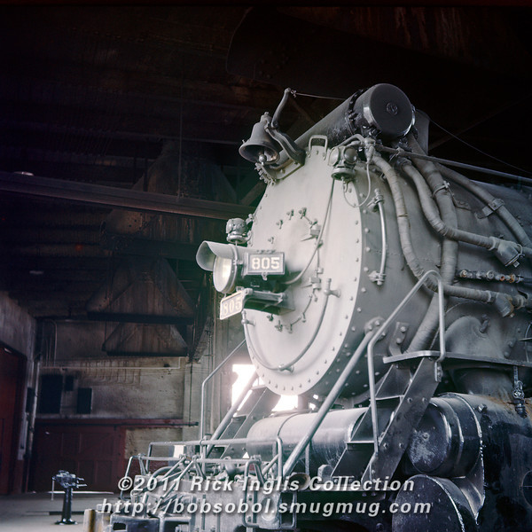 Slide No. 771. C&S 2-8-2 #805 in the Cheyenne roundhouse, Feb 1958.