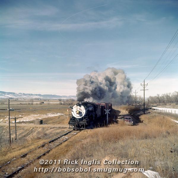 Slide No. 376. C&S 806 with the Greeley Local at Washington Highway, November 1958.