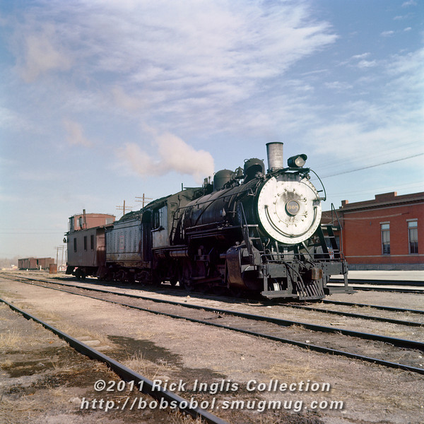 Slide No. 743. C&S 2-8-0 #608 and the Fort Collins freight depot.