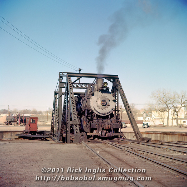 C&S 602 on the turntable. Rice Yard, Denver. The turntable was for a while preserved inside Elitch Garden's amusement park.
