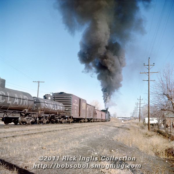 Slide No. 195. C&S 904 leaving Loveland, March 1957.