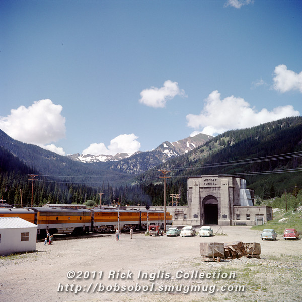 Slide No. 300. East portal of Moffatt Tunnel and California Zephyr. Alco PA 6001 in the lead. Ca. 1957.