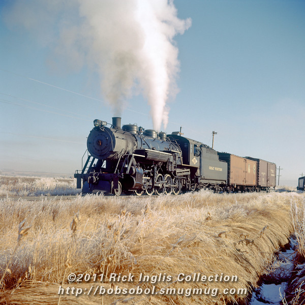 Slide No. 134. Great Western #90 switching. Switch broom covers front number board.