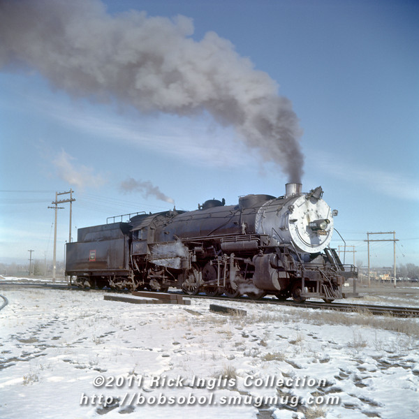 Slide No. 374. C&S 806, Fort Collins, November 1958. This 2-8-2 will be power for the Greeley Local.
