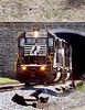 A light power move of Norfolk Southern SD40-2s emerges from the tunnel at Gallatzin, PA, May 1 2006. Bob Sobol photo.
