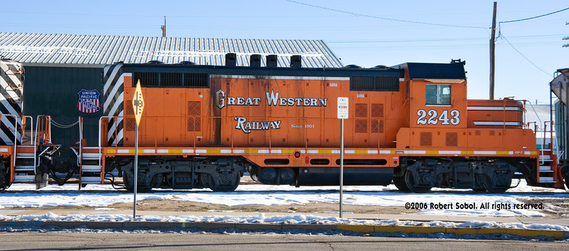 "Flip side of Great Western 2243, a Santa Fe rebuild with a ""Frankenstein"" Topeka cab and chop nose. That's the new Greeley Freight Station Museum in the background."
