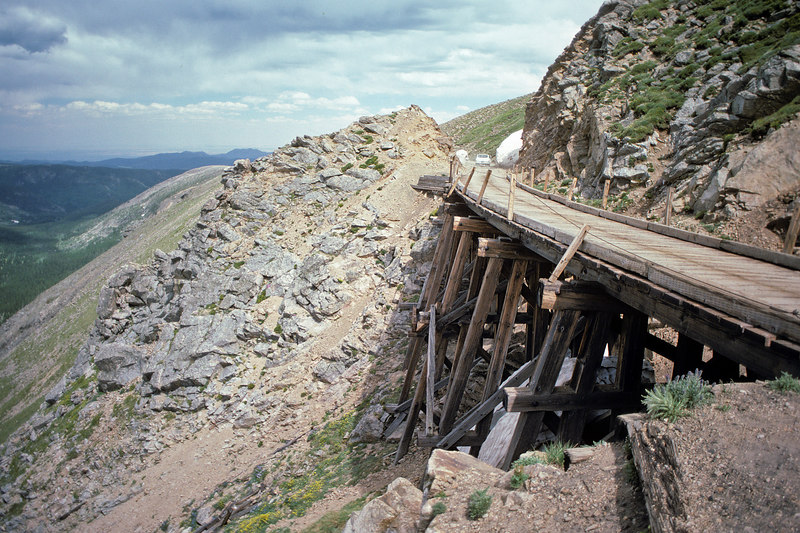 In 1978 you could still easily drive passenger cars over the D&SL's two remaining trestles on the Moffat Road.