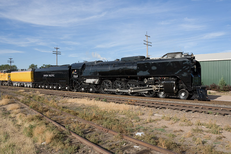 844 Northbound past the Greeley Freight Station Museum, July 21, 2007<br /> .