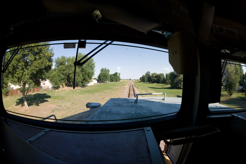 Fish-eye view from the office.