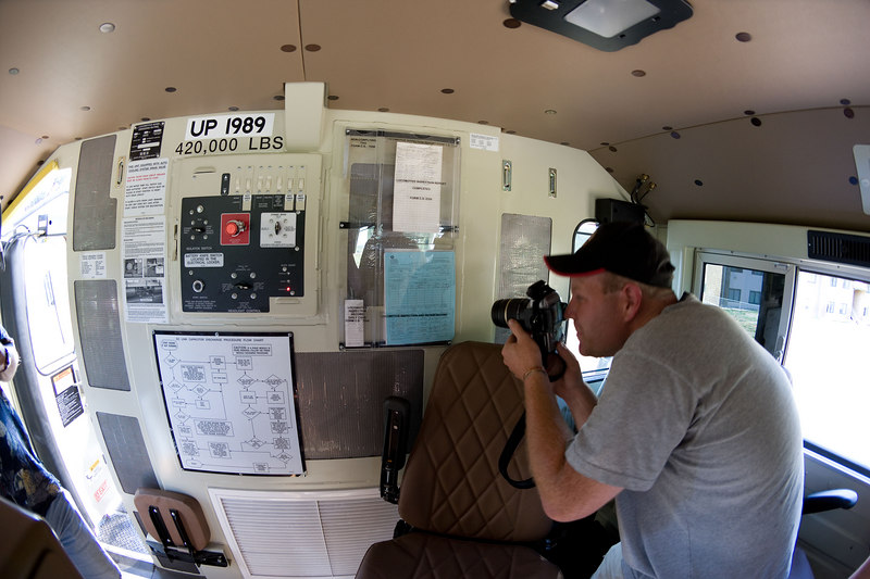 There are a lot of operator directions plastered on the back of the cab. That's Nathan Zachman with the camera.