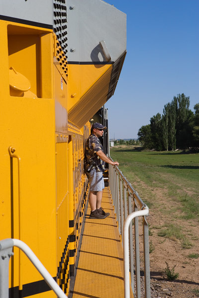 There is always a railfan around when you take a photo. This is Nathan H on the deck.