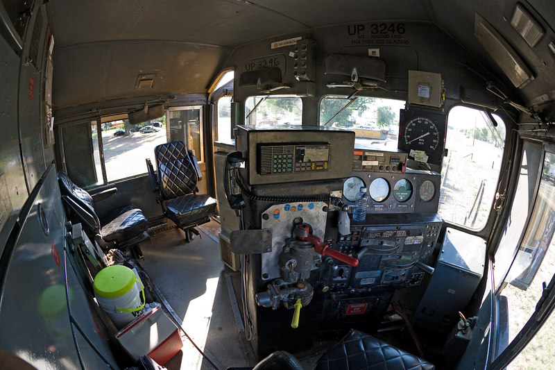 UP 1326 SD40-2 cab. Notice the cab signal display above the window.