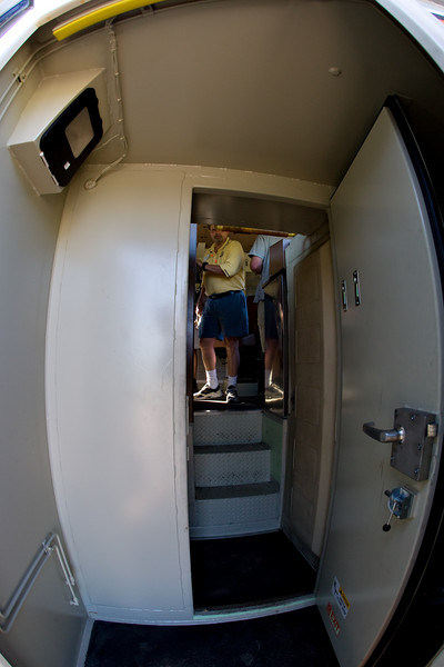 Inside the nose door. That's Stephen Bates in the yellow shirt who gave the tours.